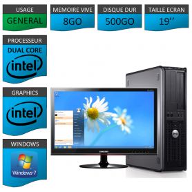 PC DELL OPTIPLEX 8GO 500GO WINDOWS 7 PRO 64 bits Ecran 19