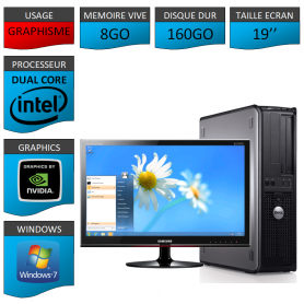 "PC DELL ""CYBORG"" 8GO MEMOIRE WINDOWS 7 PRO 64 bits Ecran 19 HDMI"
