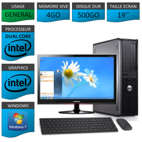 PC DELL OPTIPLEX 4GO 500GO WINDOWS 7 PRO 64 bits Ecran 19 CSF