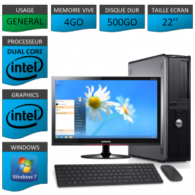 PC DELL OPTIPLEX 4GO 500GO WINDOWS 7 PRO 64 bits Ecran 22 CSF