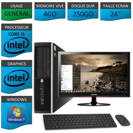PC HP Core i5 4Go 250Go Windows 7 Pro Ecran 24 CSF