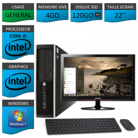 PC HP Core i5 4Go 120SSD Windows 7 Pro Ecran 22 CSF