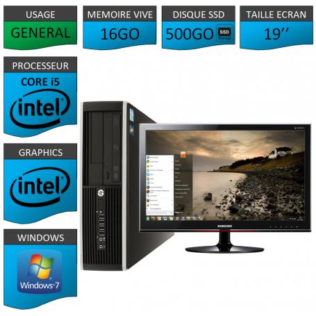 PC HP Core i5 16Go 500Go SSD Windows 7 Pro Ecran 19