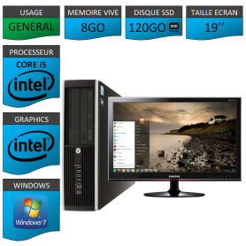 PC HP Core i5 8Go 120Go SSD Windows 7 Pro Ecran 19