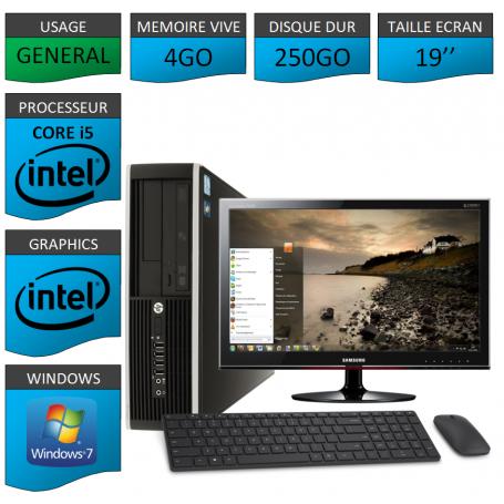 PC HP Elite Pro 4Go 250Go Ecran 19 pouces CSF