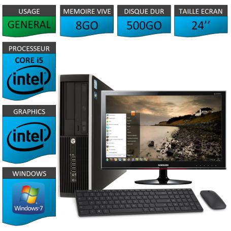PC HP Elite Pro 8Go 500Go Ecran 24 CSF
