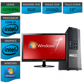 Dell 7010 Core i5 8Go 250Go Windows 7 Pro Ecran 19