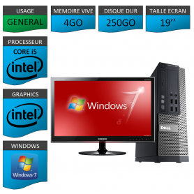 Dell 7010 Core i5 4Go 250Go Windows 7 Pro Ecran 19