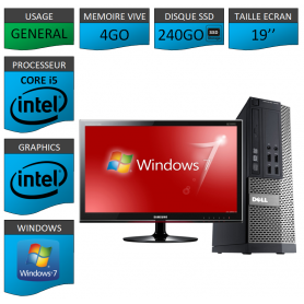 Dell 7010 Core i5 4Go 240SSD Windows 7 Pro Ecran 19