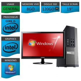 Dell 7010 Core i5 8Go 120SSD Windows 7 Pro Ecran 19