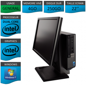 PC DELL USFF 4Go 250Go Ecran 22'' WINDOWS 7 PRO 64 bits Très Faible Encombrement