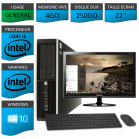 PC HP Core i5 4Go 250Go Windows 10 Pro Ecran 22 CSF