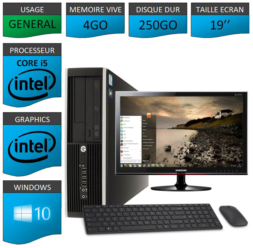 Pc Hp Intel Core I  Coeurs Windows  Bits  Kit Clavier Souris