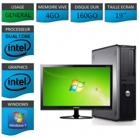 "PC DELL OPTIPLEX 4GO 160GO 19"" WINDOWS 7 PRO 32 bits"