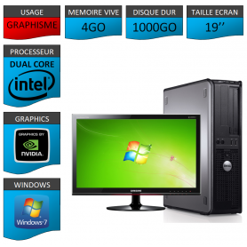 "PC DELL OPTIPLEX 4GO 1000GO 19"" GEFORCE 2GO WINDOWS 7 PRO 32 bits"