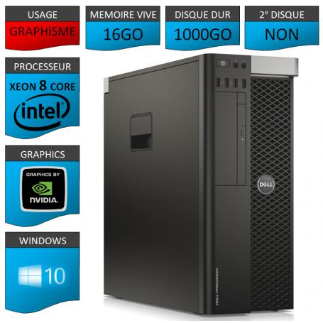 DELL PRECISION T5600 Xeon 8 Cores 16Go 1000GO Windows 10 Pro 64