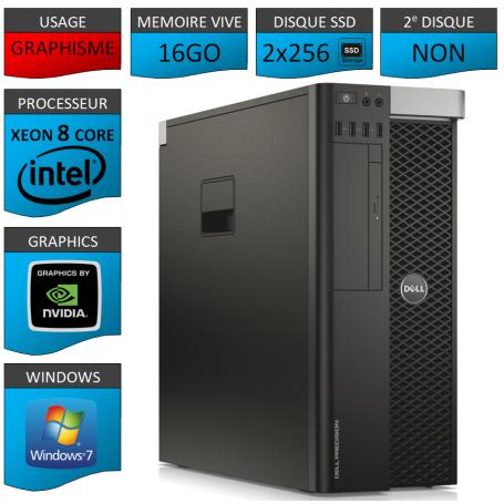 DELL PRECISION T5600 Xeon 8 Cores 16Go 2x256SSD Windows 7 Pro 64