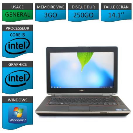 Lot 10 Portables Dell Intel Core i5 4 Coeurs 3Go Windows 7 Pro 64 bits