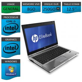 Hp elitebook 2560p Intel Core i5 8Go 250SSD Windows 7 Pro 64Bits