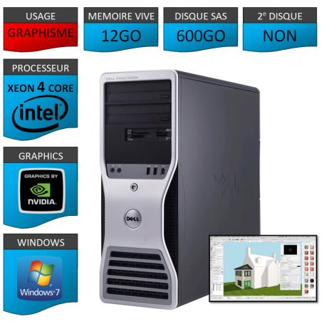 DELL PRECISION T3500 Xeon 4 Cores 12Go 600GoSAS Windows 7 Pro 64