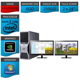 """DELL PRECISION Xeon Dual Core 6Go Windows 7 Pro 64 Double Ecran 24"""""""