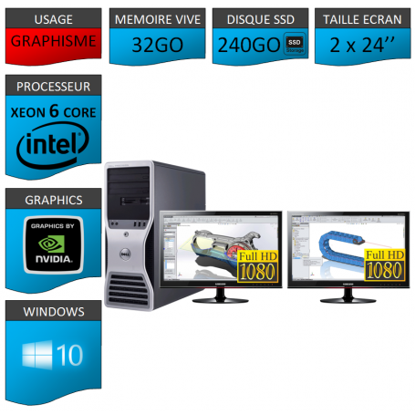 DELL 6 Cores 32Go 240SSD + 2 ecrans 24 TFT Windows 10