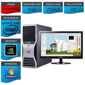 """DELL PRECISION Xeon Dual Core 6Go Windows 7 Pro 64 Ecran 24"""""""