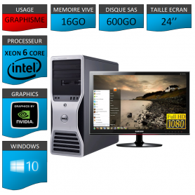 """DELL PRECISION Xeon 6 Cores 16Go 600GO Windows 10 Pro 64 Ecran 24"""" Full HD"""