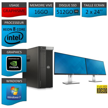 """DELL PRECISION T5600 Xeon 8 Cores 16Go 2x256SSD Windows 7 Pro 64 2x24"""""""
