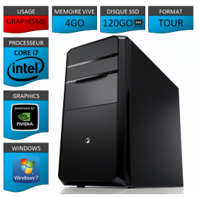 PC NEUF Core i7 4Go 120Go SSD Geforce 2Go