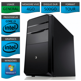 PC NEUF Core i3 4Go 500Go Windows 7 Pro 32 bits
