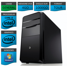 PC Core i3 4Go 1000Go Windows 7 32 bits