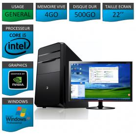 "PC ECS COREi5 4GO 500GO XP PRO GARANTIE 3 AN 22"""