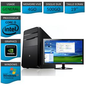 "PC ECS COREi5 4GO 500GO XP PRO GARANTIE 3 AN 19"""