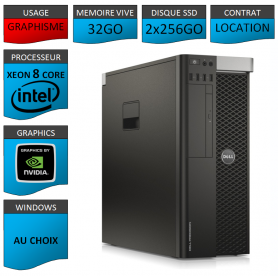 Location DELL PRECISION Xeon 8 Cores 32Go 2x256SSD