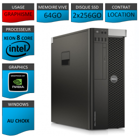 Location DELL PRECISION Xeon 8 Cores 64Go 2x256SSD