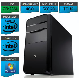 PC NEUF Core i3 4Go 500Go Windows 7 32 bits