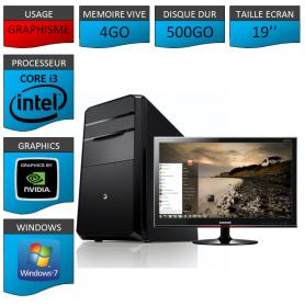 "PC NEUF MSI Core i3 4Go 500Go GeforceGT2Go 19"""