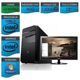 """PC NEUF MSI Core i3 4Go 120Go SSD 19"""""""