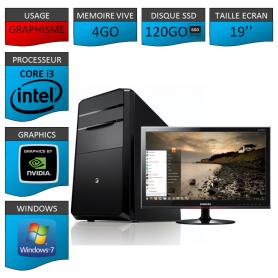 "PC NEUF MSI Core i3 4Go 120Go SSD GeforceGT2Go 19"""