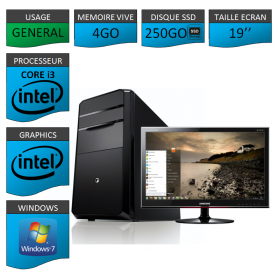"""PC NEUF MSI Core i3 4Go 250Go SSD 19"""""""
