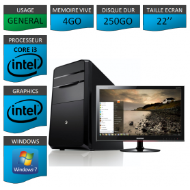 "PC NEUF MSI Core i3 4Go 250Go 22"""