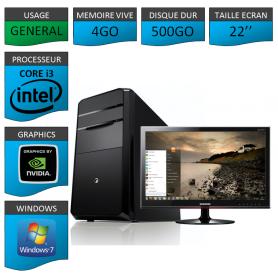 "PC NEUF MSI Core i3 4Go 500Go GeforceGT1Go 22"""