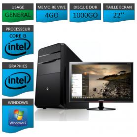 "PC NEUF MSI Core i3 4Go 1000Go 22"""