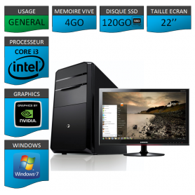 "PC NEUF MSI Core i3 4Go 120Go SSD GeforceGT1Go 22"""