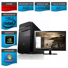 "PC NEUF MSI Core i3 4Go 120Go SSD GeforceGT2Go 22"""