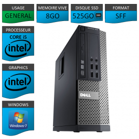 Dell 7010 Core i5 8Go SSD 525Go Windows 7 Pro