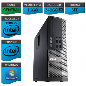 Dell 7010 Core i5 16Go 240SSD Windows 7 Pro