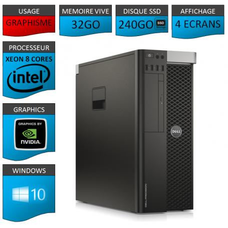 Xeon 8 Cores Affichage 4 Ecrans 32Go 2x256SSD 1000Go Windows 10 Pro 64