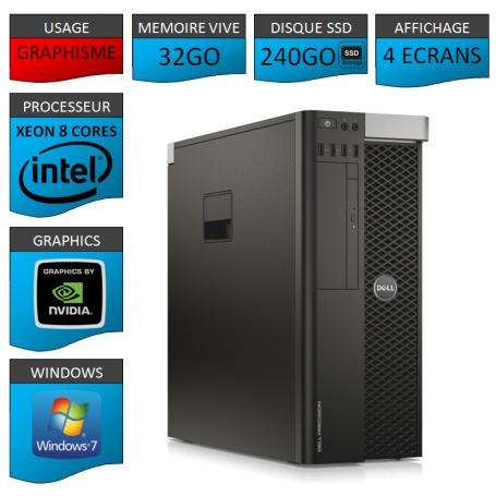 Xeon 8 Cores Affichage 4 Ecrans 32Go 2x256SSD 1000Go Windows 7 Pro 64